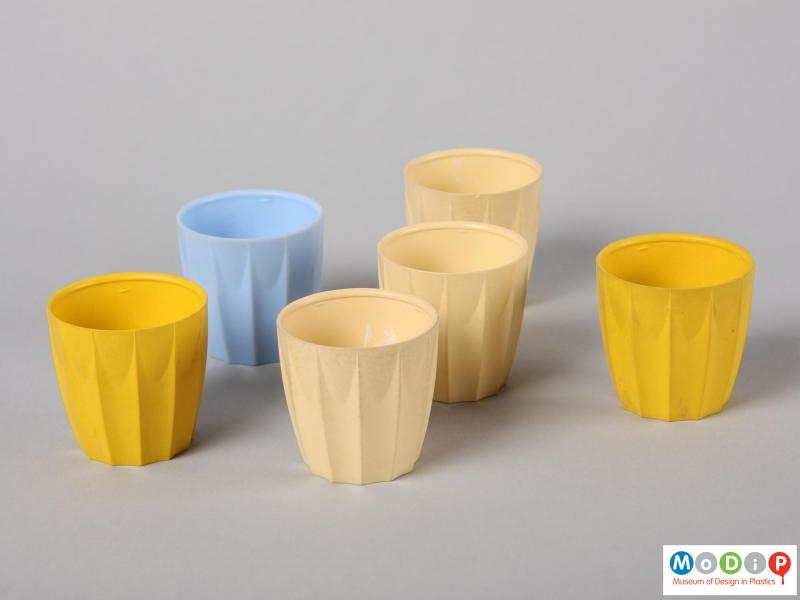 Top view of six nBware egg cups showing the distinct moulded ribbing down the side of the cups.