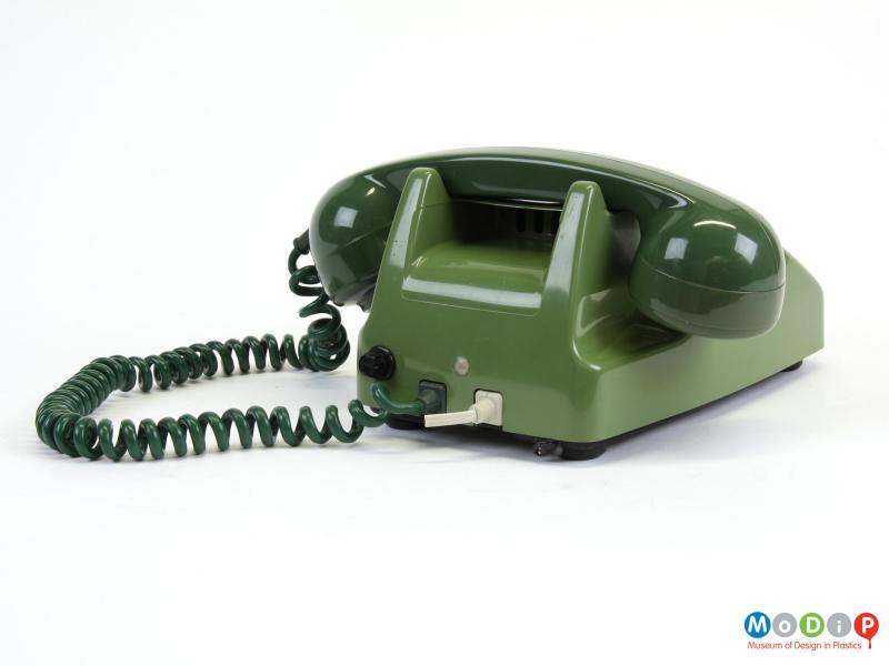 Rear view of a telephone showing the receiver.