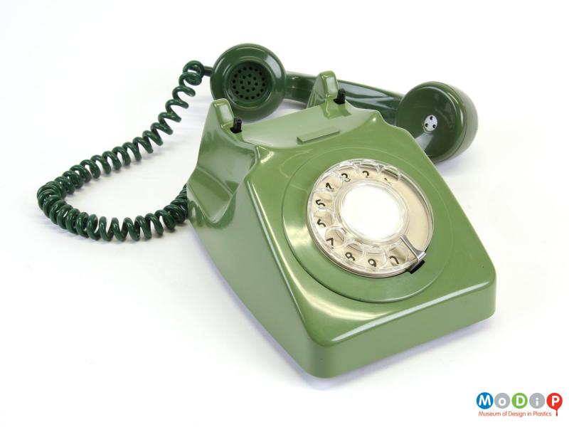 Top view of a telephone showing the reciever.