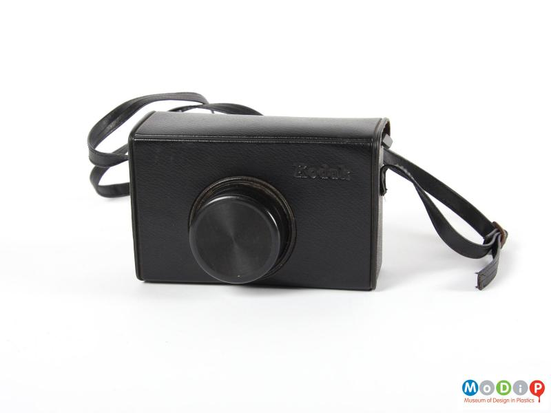 Front view of a camera showing the case.