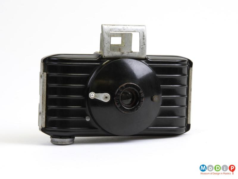Front view of a camera showing the unfolded view finder.