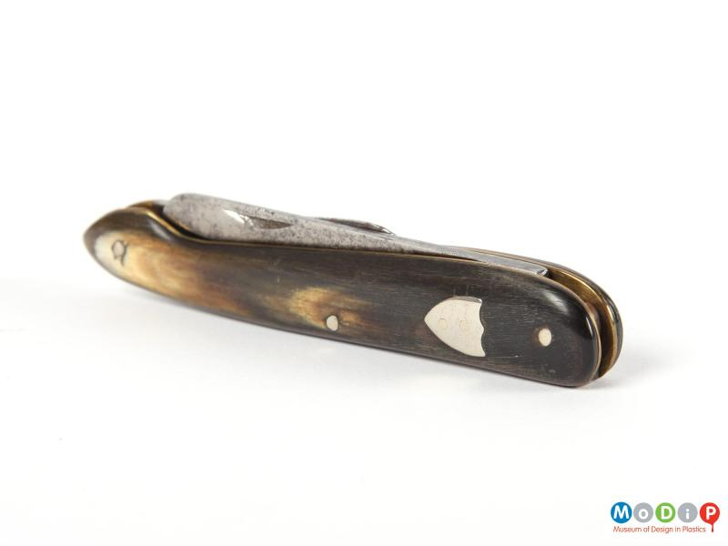 Side view of a penknife showing the silver mounts.