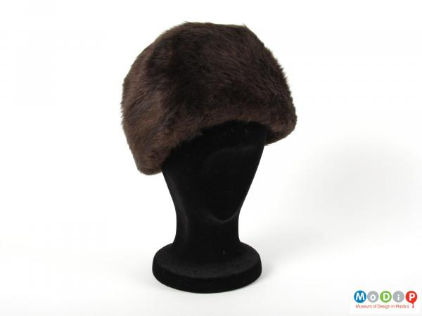 Front view of a hat showing the depth of the body.