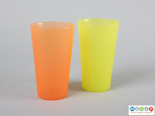 Side view of a two beakers showing the tapered shape.