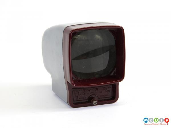 Front view of a slide viewer showing the viewing screen.