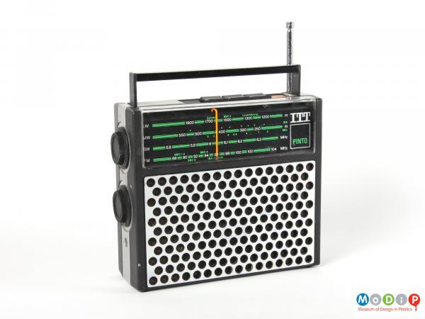 Front view of an ITT Pinto radio showing the circular pattern on the speaker.