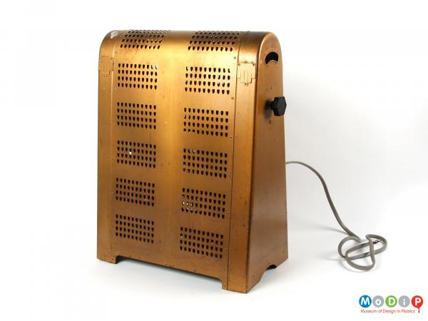 Front view of an electric heater showing the regular ventilation grid.
