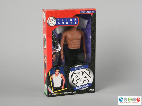 Front view of a Peter Andre doll showing the front of the packaging.