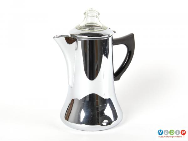 Side view of a Swan brand coffee pot showing the glass top and plastic handle.