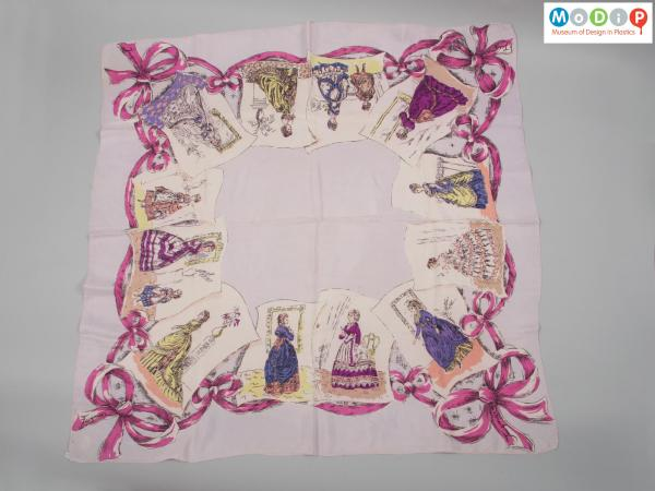 Front view of a scarf showing the printed pattern.