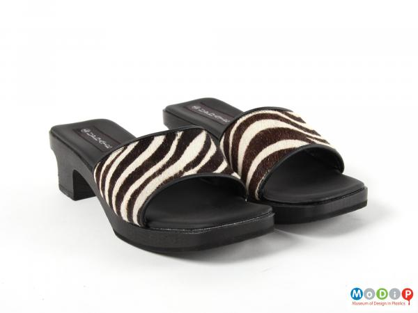Front view of a pair of shoes showing the zebra print upper.
