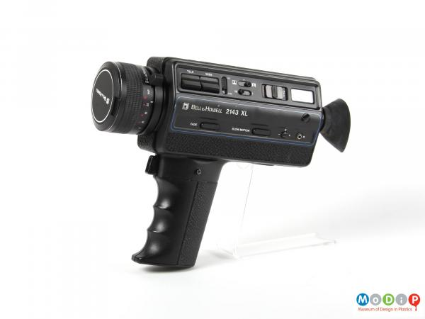 Side view of a camera showing the pistol grip handle.