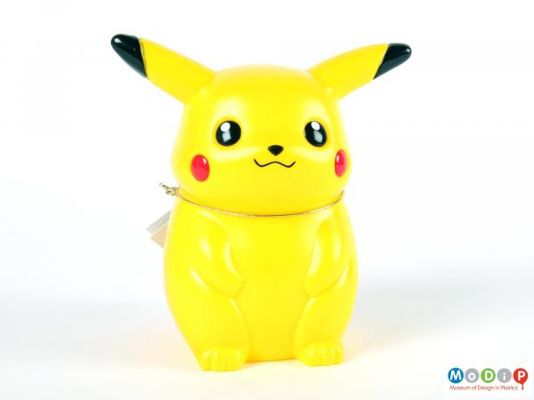 Front view of a Pikachu money box showing the facial features.
