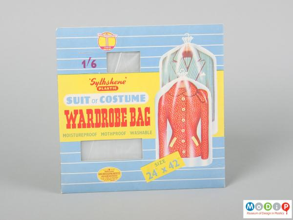 Front view of a packet of wardrobe bags showing the illustrated packaging with cut out windows.