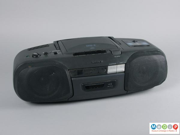 Front view of a CD player showing the ovoid shape.