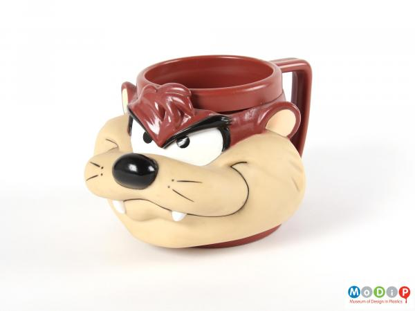 Side view of a mug showing the large face.