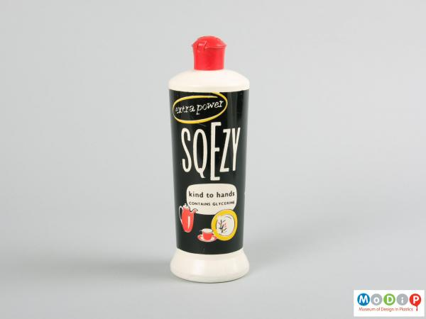 Front view of a Sqezy bottle showing the printed surface.