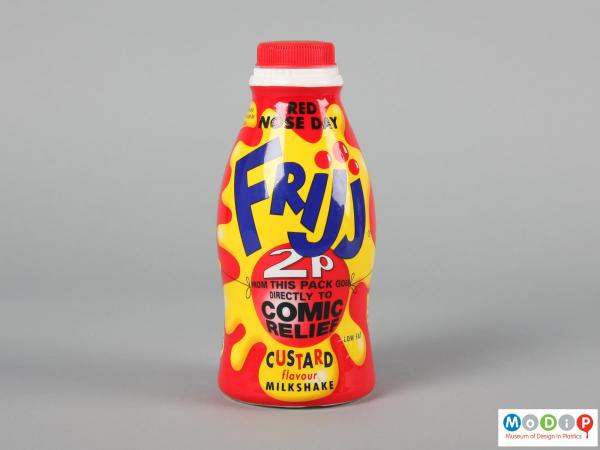 Side view of a Frijj bottle showing the illustrated wrapper.