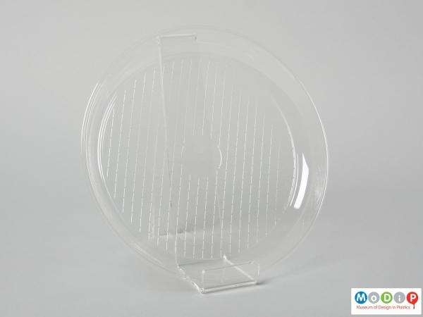 Top view of a disposable plate showing the raised side.