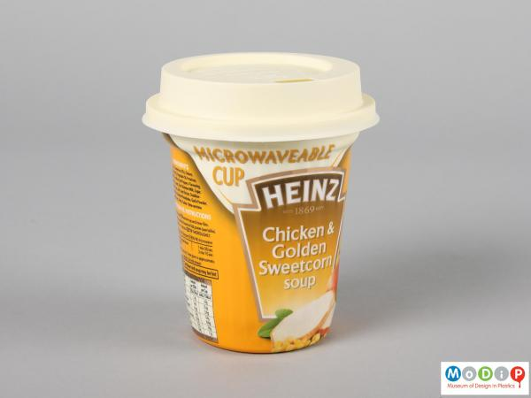 Side view of a Soup cup showing the tapering side and the fitted lid.