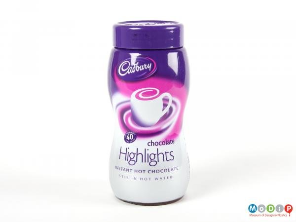 Front view of a Cadbury's Highlights jar showing the waisted shape of the jar.