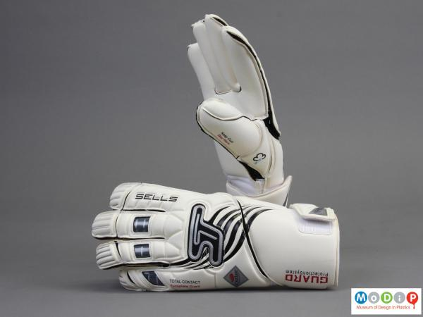 Rear view of a pair of goalkeepers gloves showing the back of the glove.