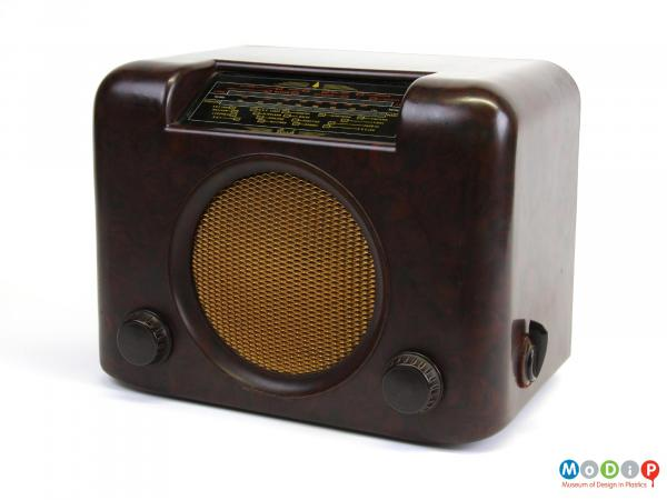 Front view of a radio showing the speaker grill.