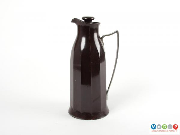 Side view of a jug showing the angular handle.