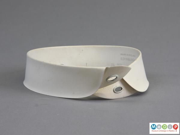 Front view of a collar showing the round corners.
