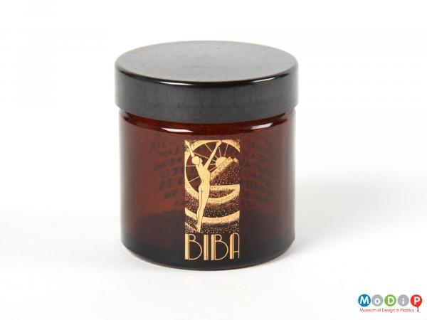 Side view of a Biba jar showing the printed label on the front.