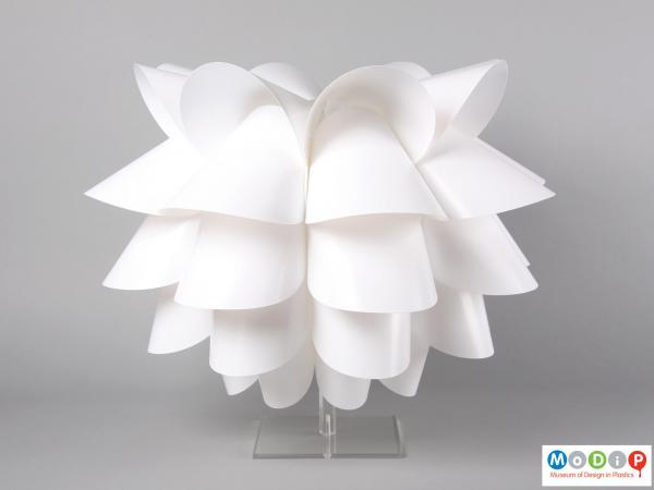 Side view of a lamp shade showing it fully constructed.