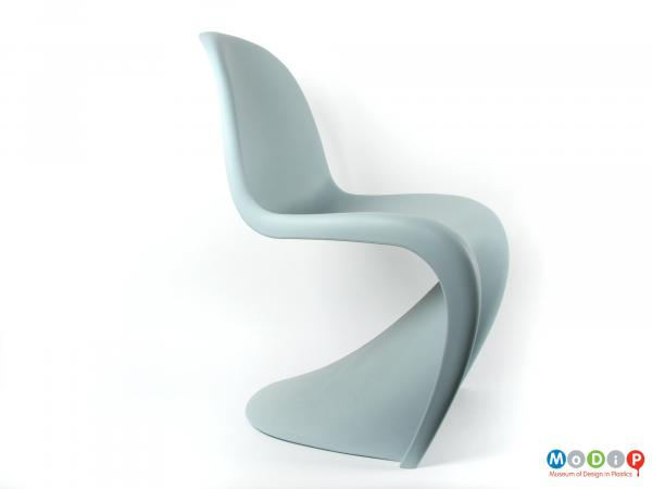 Side view of a Panton chair showing the curve of the seat.