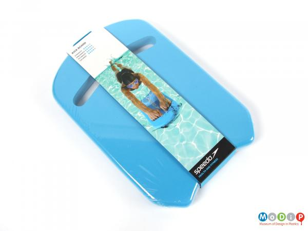 Front view of a Speedo swimming float showing the card and shrink wrap packaging.