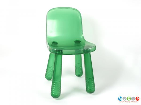 Front view of a chair showing the smooth seat.