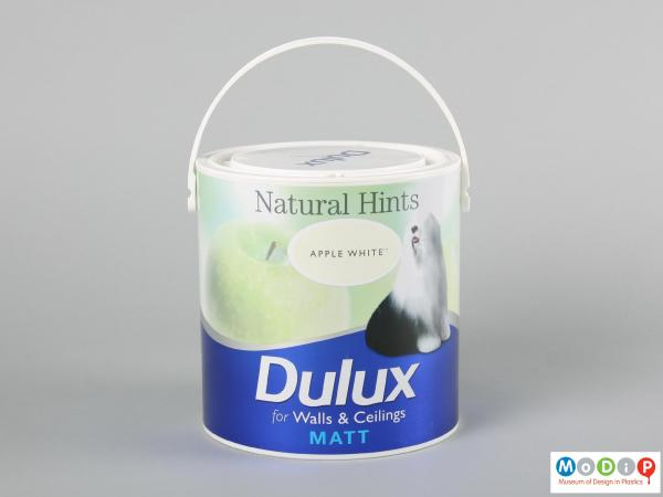 Side view of a paint can showing the printed label.
