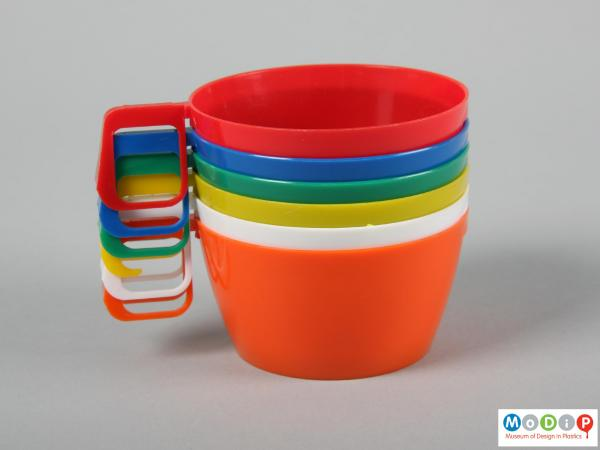 Side view of a set of cups showing them stacked together.