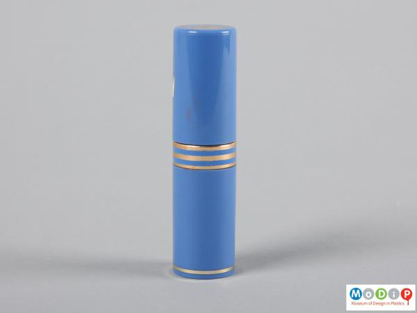 Side view of a lipstick case showing the cylindrical shape.