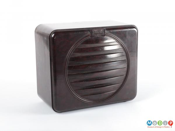 Front view of a speaker showing the speaker grill.