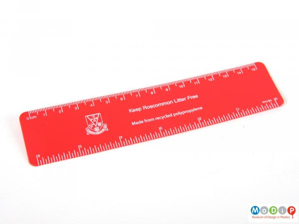 Front view of a ruler showing the printed inscription.