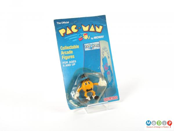 Front view of a figurine showing the packaging.