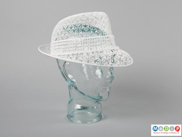 Front view of a hat showing the Fedora shape.
