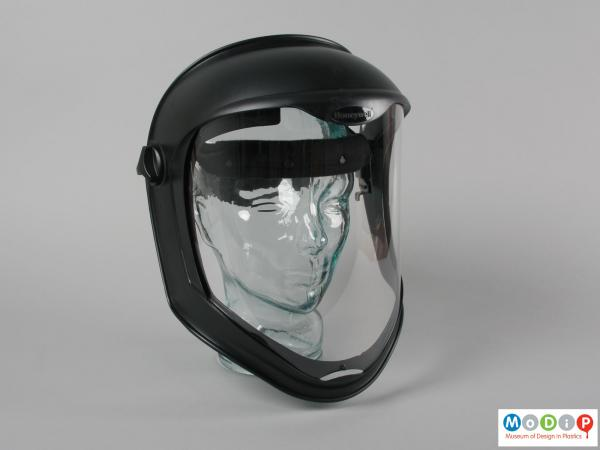 Front view of a faceshield showing the clear visor.