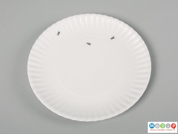 Top view of a set of plates showing the printed ants.