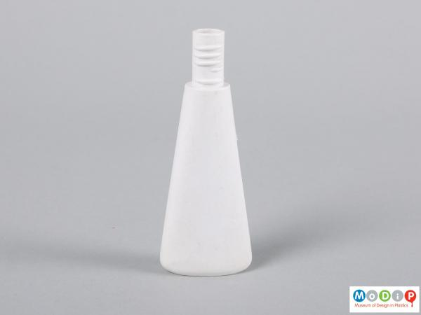Front view of a bottle showing the tapered shape.