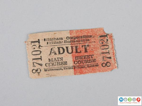 Front view of a ticket showing the printed detail.