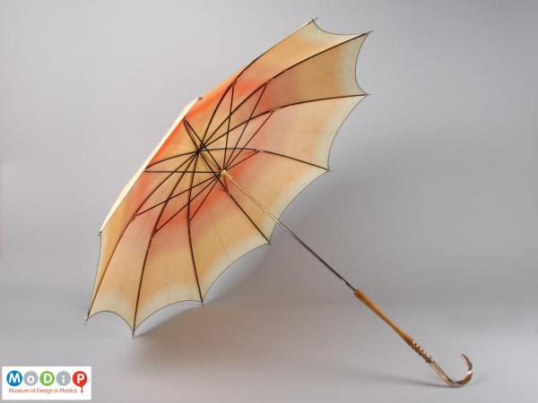 Side view of an umbrella showing inside of the canopy.