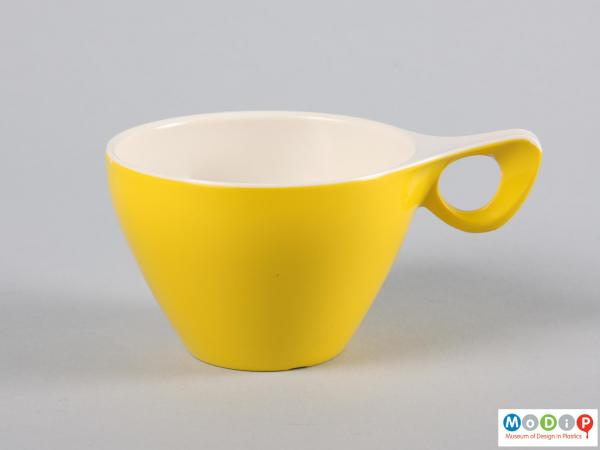 Side view of a cup showing the elegant handle.