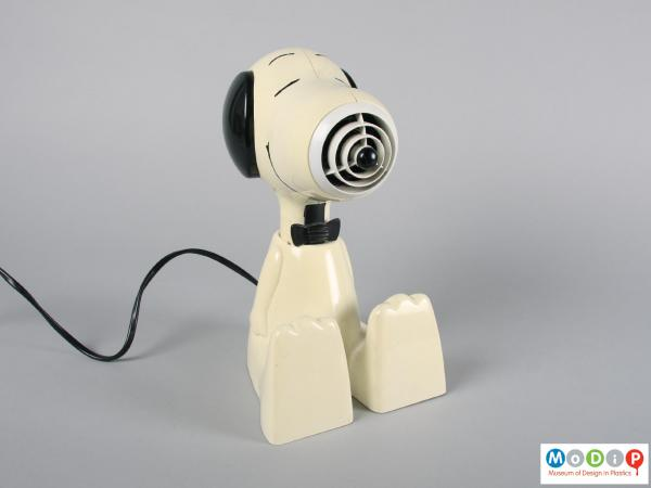 Front view of a hairdryer showing it in the stand.