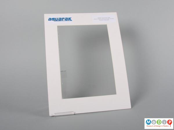 Front view of a sample of film showing the clear material.