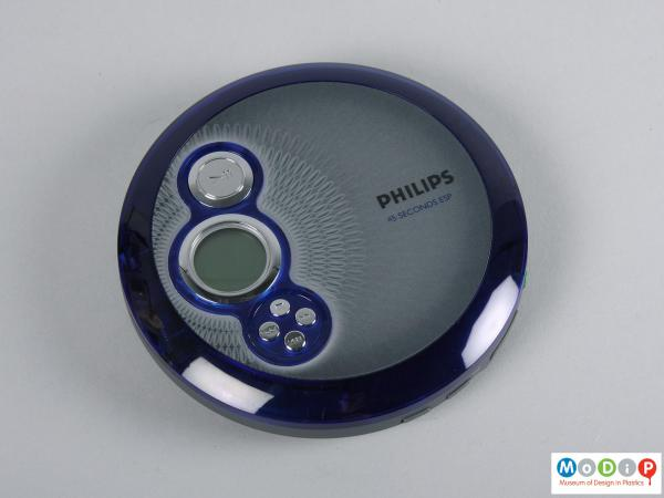 Top view of a CD player showing the circular shape.